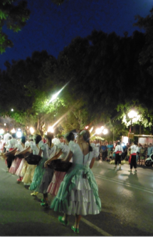 other traditionally costumed groups formed part of Marbella Town's Virgen del Carmen night-time procession.