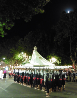 Marbella´s beloved Virgen del Carmen on her way to the church in the Old Town for Midnight Mass