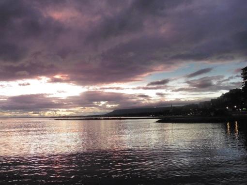 Rain-laden clouded sunset clouds